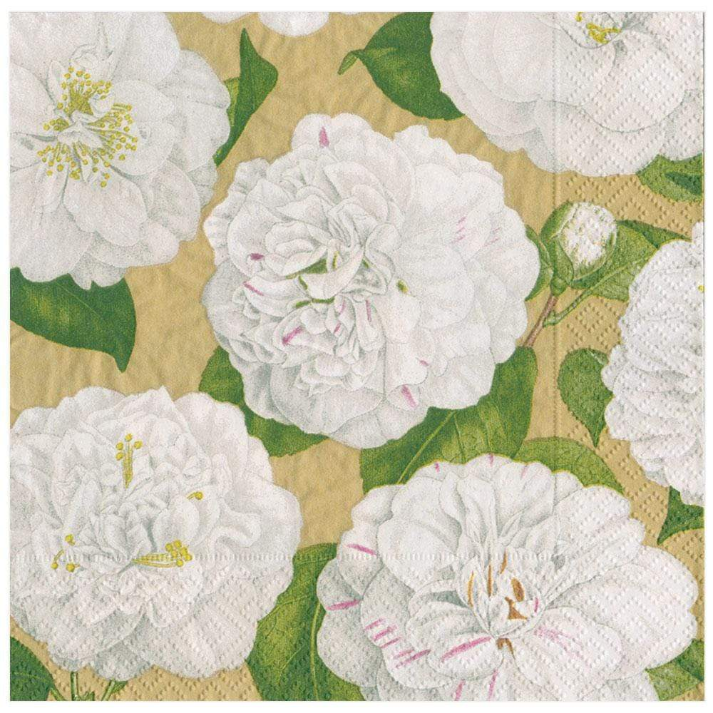 Caspari Camellia Garden Paper Dinner Napkins in Gold - 20 Per Package