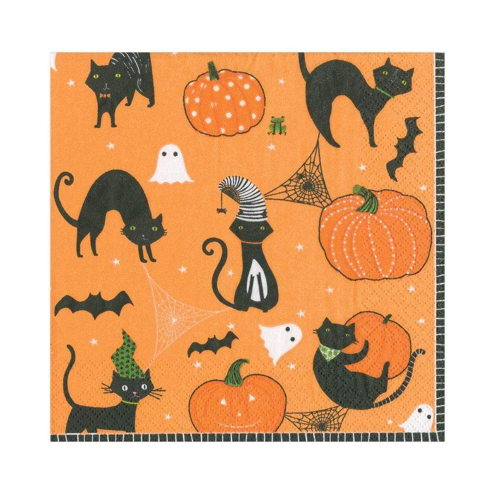 Caspari Scaredy Cats Paper Luncheon Napkins in Orange - 20 Per Package