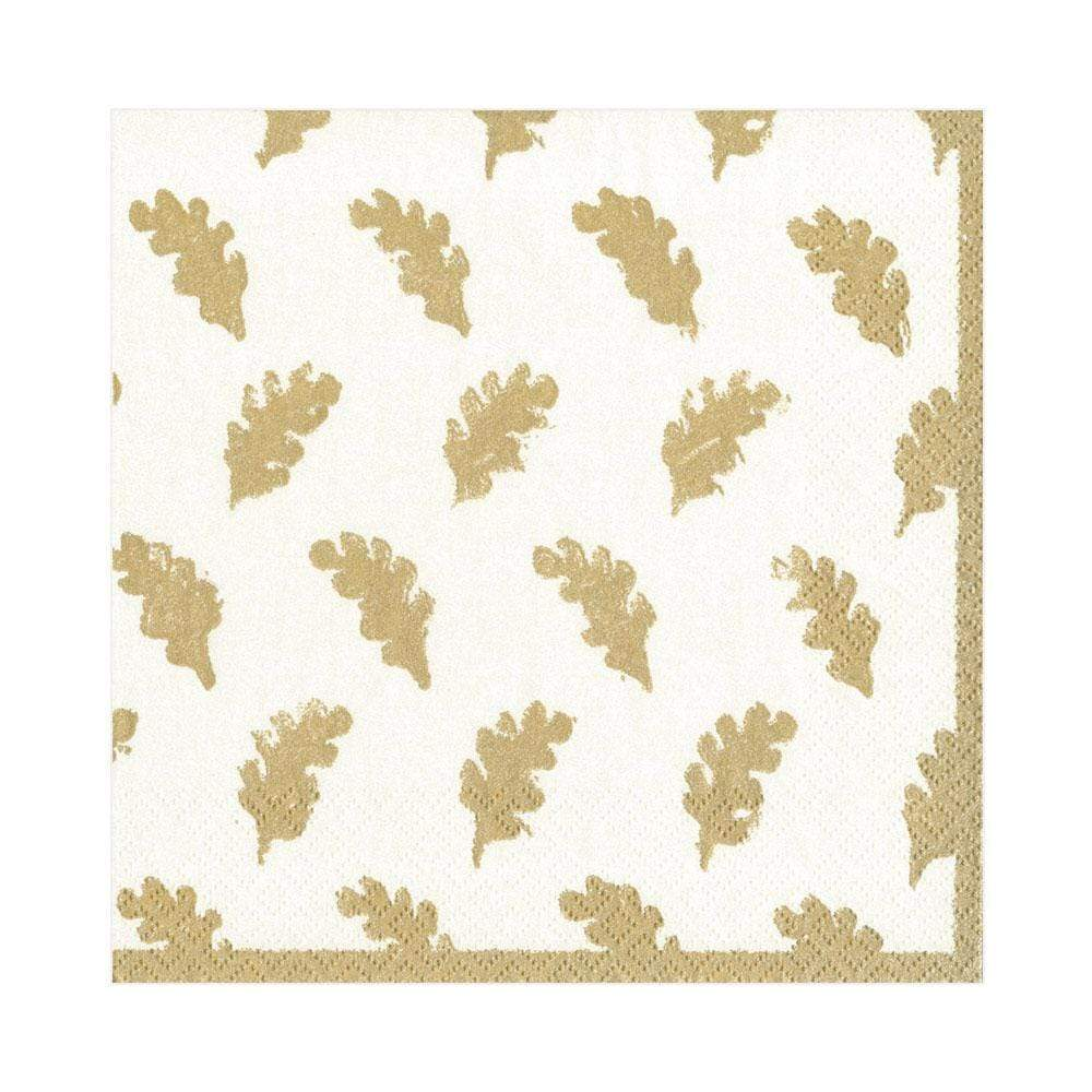 Caspari Leaves of Gold Paper Luncheon Napkins in Ivory - 20 Per Package