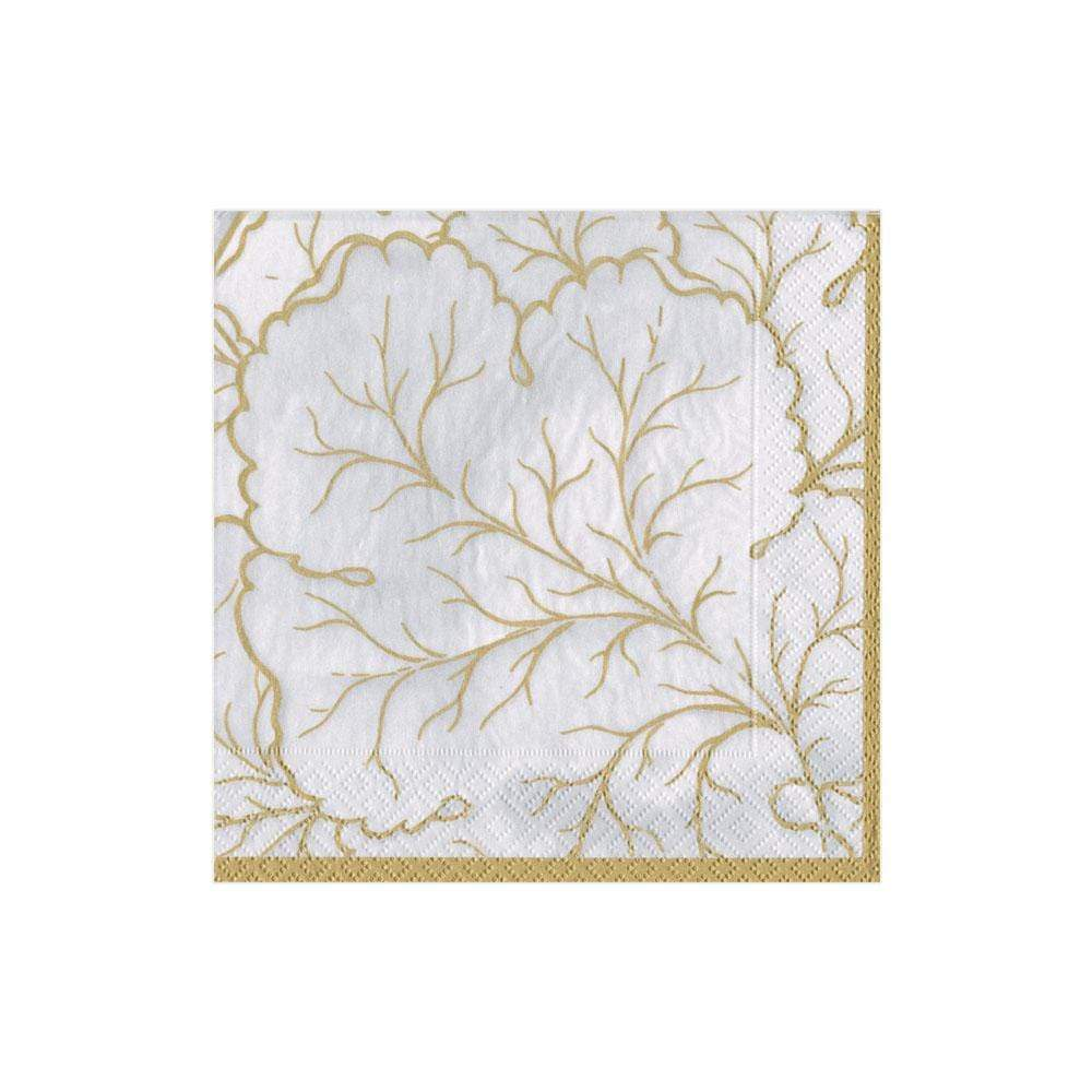Caspari Gilded Majolica Paper Cocktail Napkins in Ivory - 20 Per Package