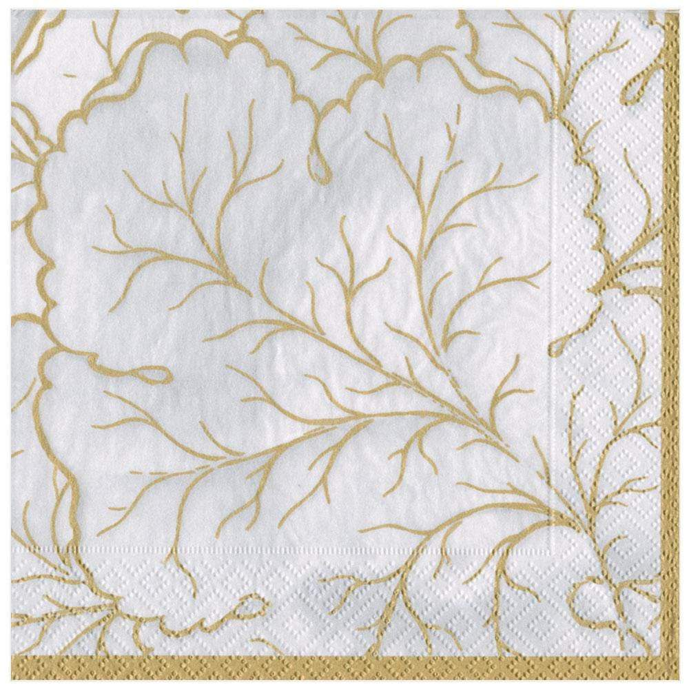 Caspari Gilded Majolica Paper Dinner Napkins in Ivory - 20 Per Package