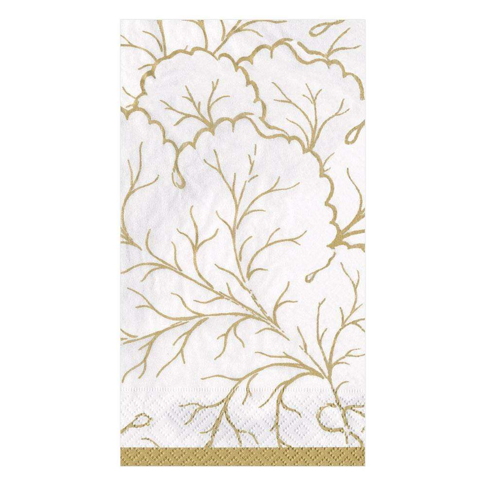 Caspari Gilded Majolica Paper Guest Towel Napkins in Ivory - 15 Per Package