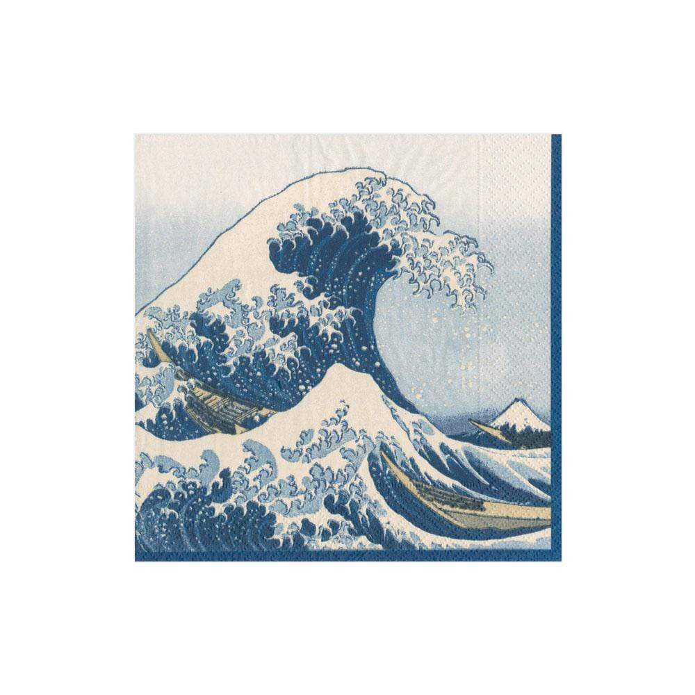 The Great Wave Paper Cocktail Napkins in Blue - 20 Per Package
