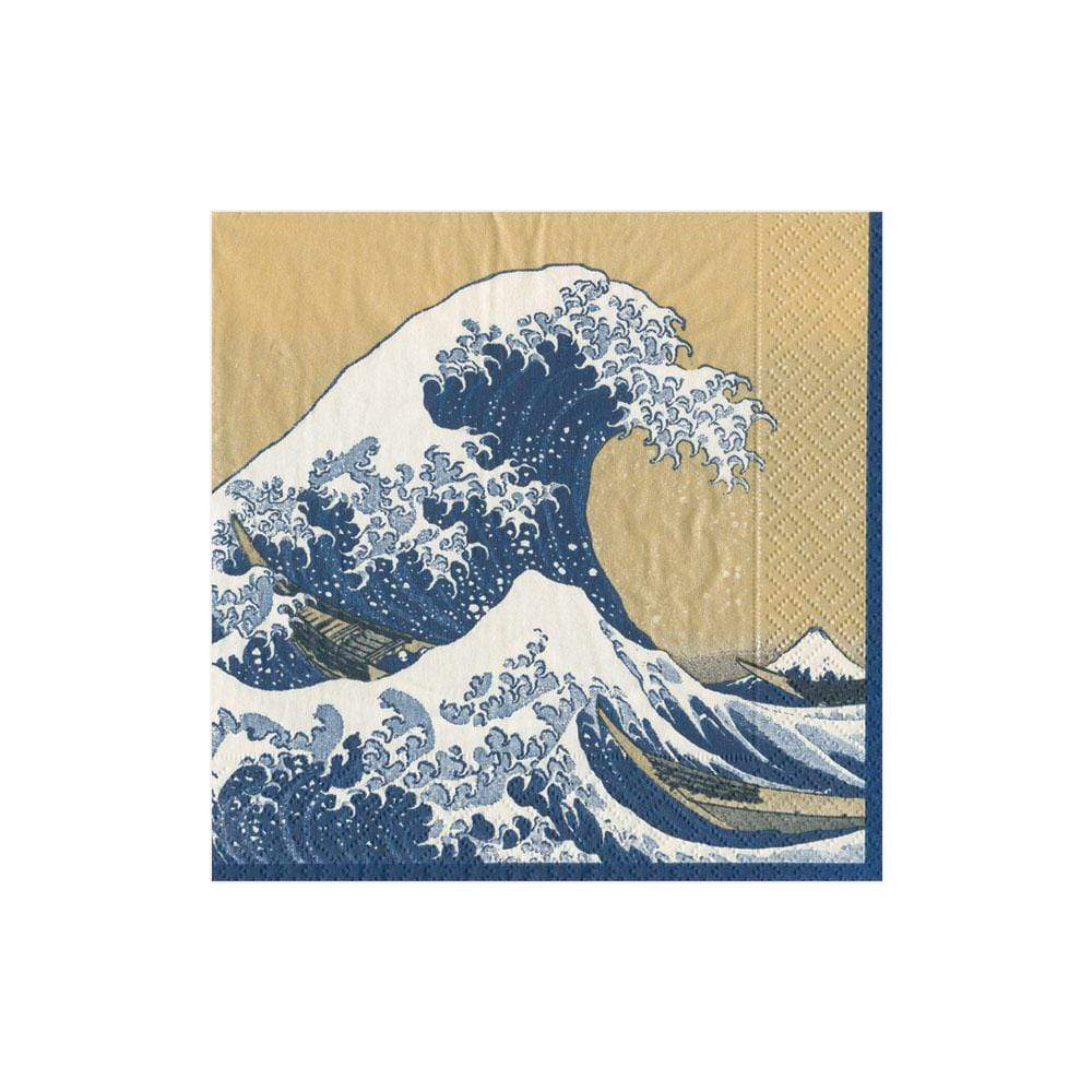 Caspari The Great Wave Paper Cocktail Napkins in Gold - 20 Per Package