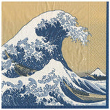 Caspari The Great Wave Paper Dinner Napkins in Gold - 20 Per Package