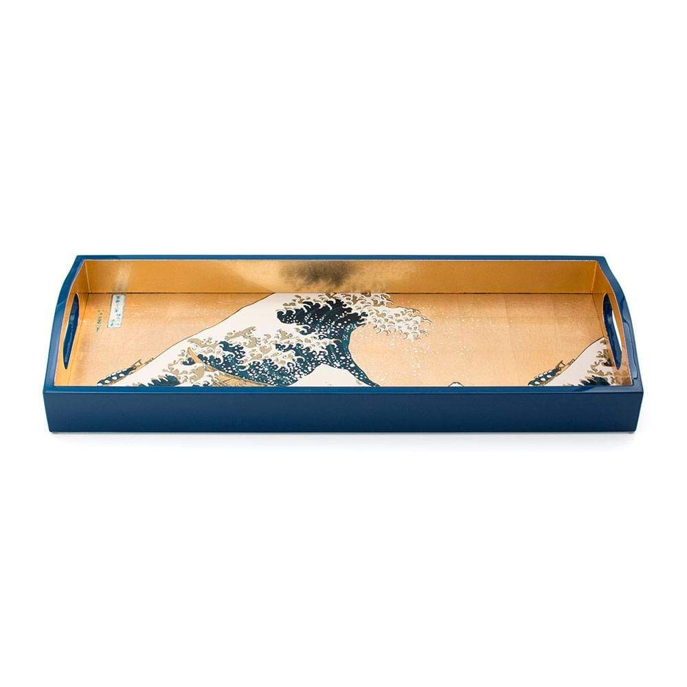 Caspari The Great Wave Lacquer Bar Tray in Gold - 1 Each