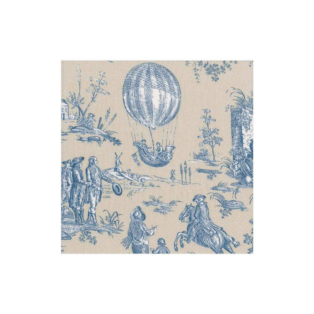 Caspari Montgolfiere Toile Paper Cocktail Napkins in Blue - 20 Per Package
