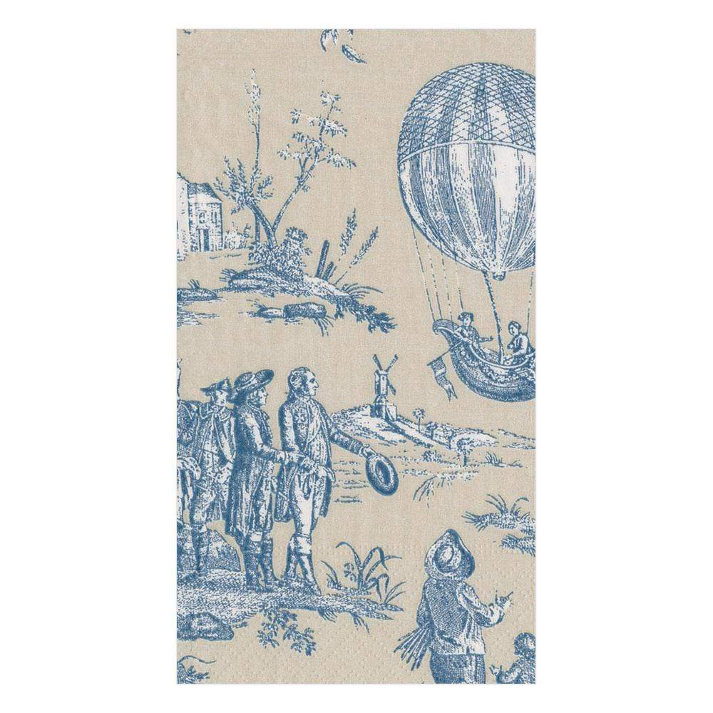 Caspari Montgolfiere Toile Paper Guest Towel Napkins in Blue - 15 Per Package