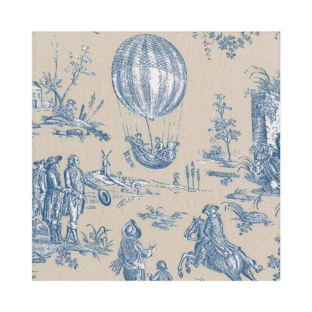 Caspari Montgolfiere Toile Paper Luncheon Napkins in Blue - 20 Per Package
