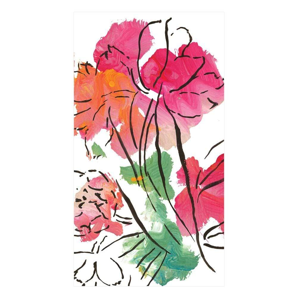 Caspari Abstract Floral Paper Guest Towel Napkins - 15 Per Package