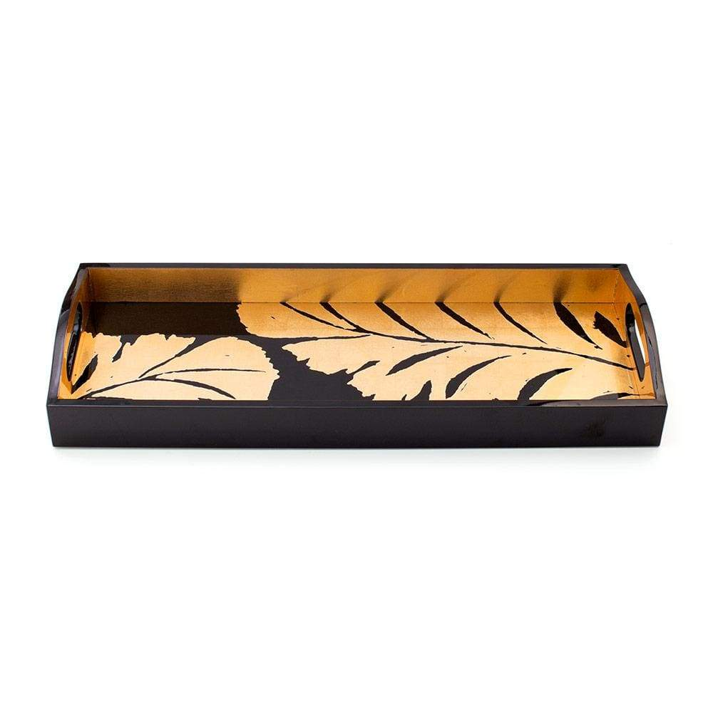 Caspari Palm Leaves Lacquer Bar Tray in Black & Gold - 1 Each