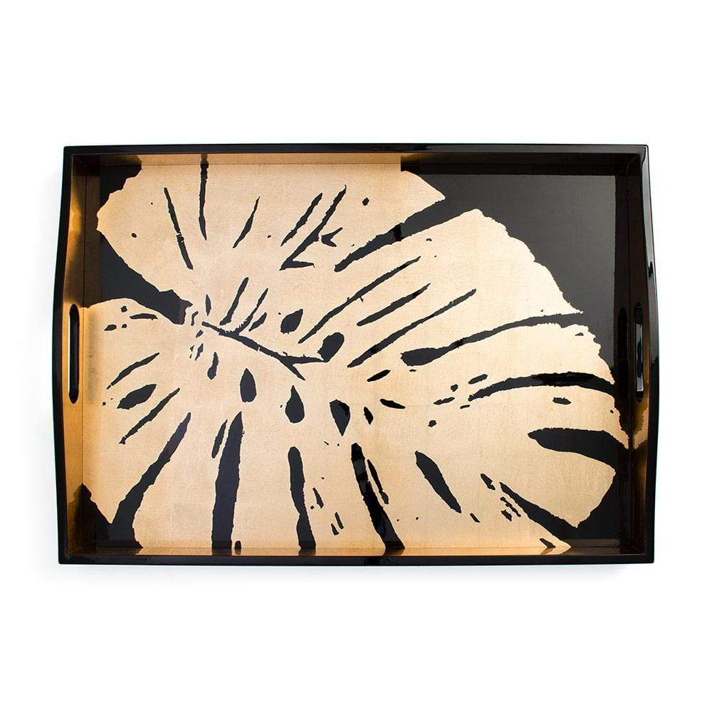 Caspari Palm Leaves Lacquer Large Rectangle Tray in Black & Gold - 1 Each