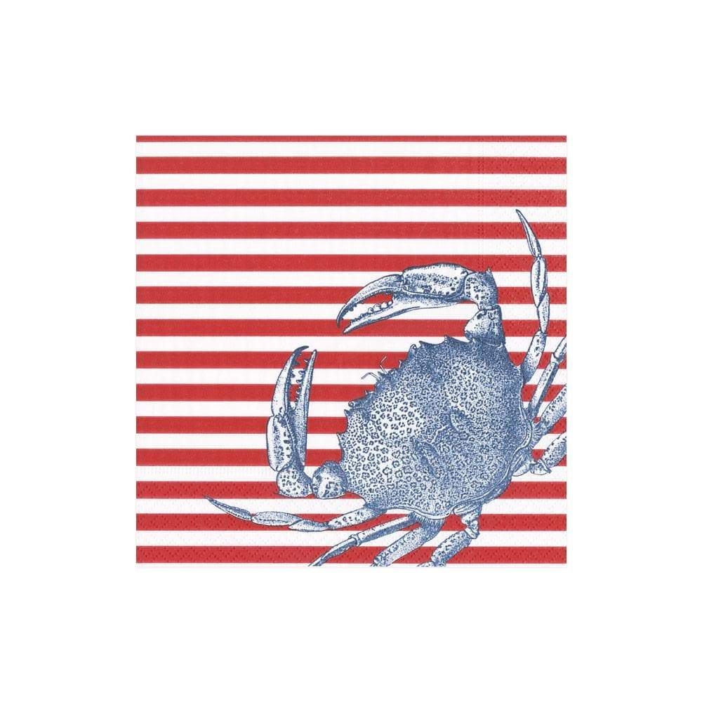 Caspari Crabs and Stripes Paper Cocktail Napkins in Red - 20 Per Package
