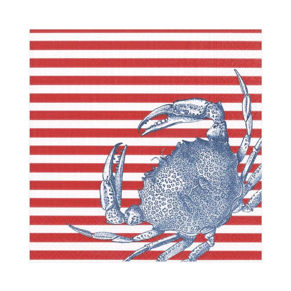 Caspari Crabs and Stripes Paper Luncheon Napkins in Red - 20 Per Package