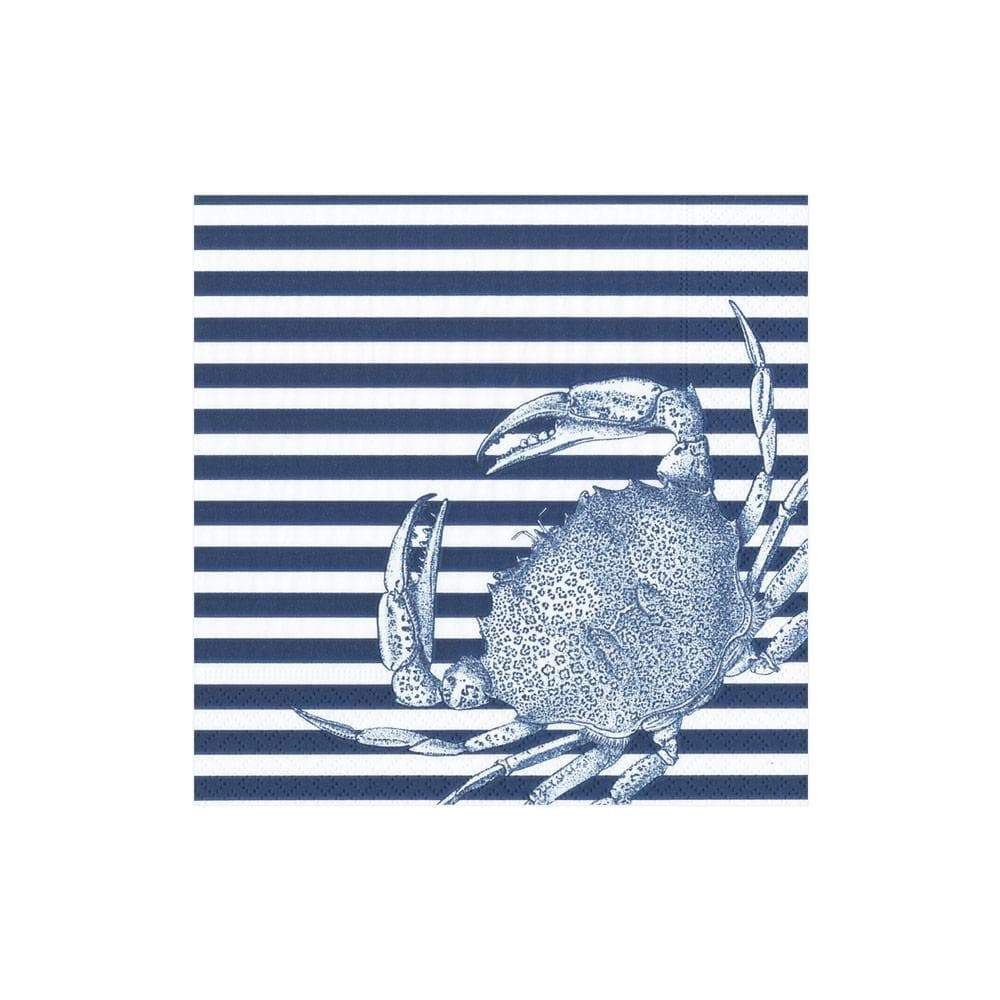 Caspari Crabs and Stripes Paper Cocktail Napkins in Blue - 20 Per Package