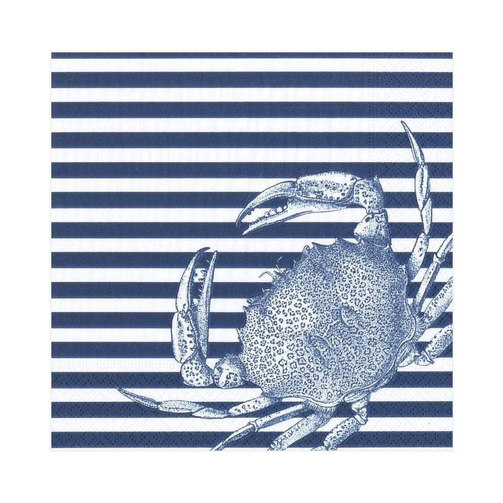 Caspari Crabs and Stripes Paper Luncheon Napkins in Blue - 20 Per Package