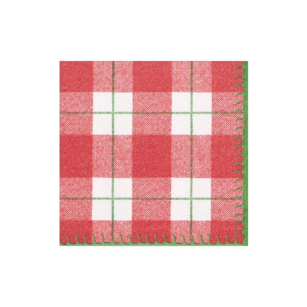 Caspari Plaid Check Paper Linen Cocktail Napkins in Red - 15 Per Package