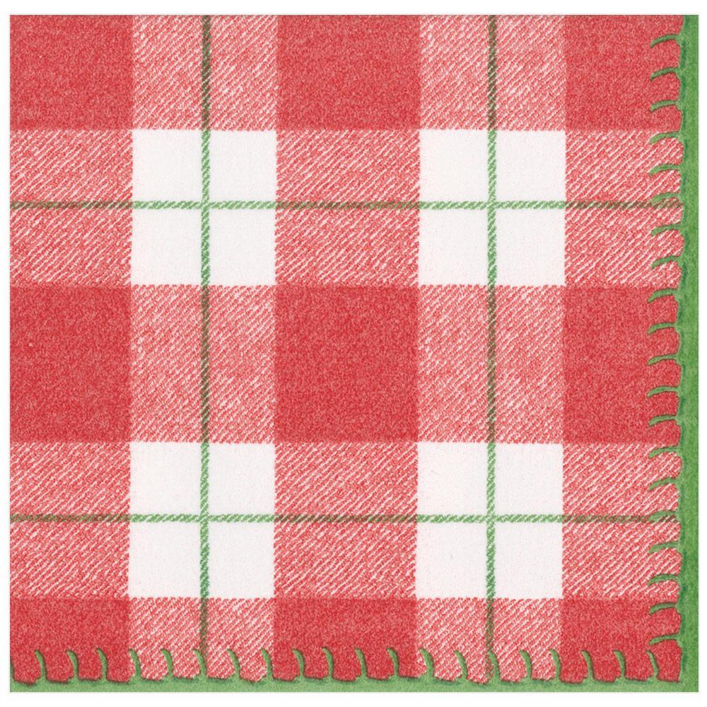 Caspari Plaid Check Paper Linen Dinner Napkins in Red - 12 Per Package