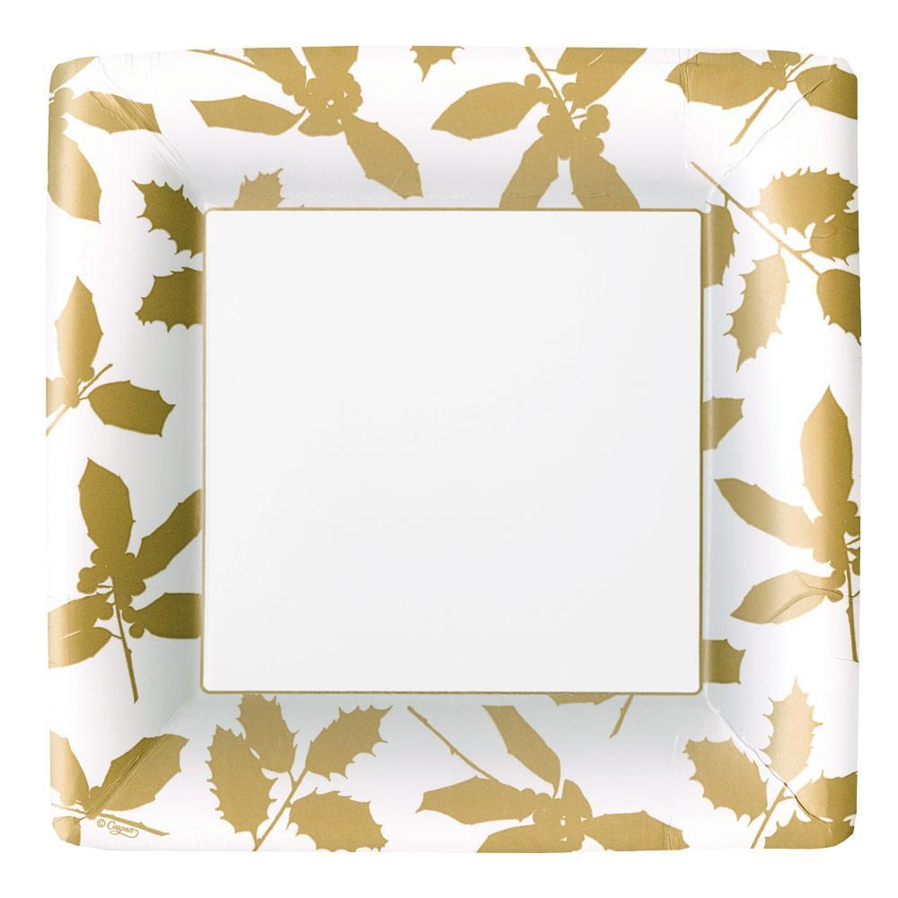 Caspari Holly Silhouettes Square Paper Dinner Plates in Ivory & Gold - 8 Per Package