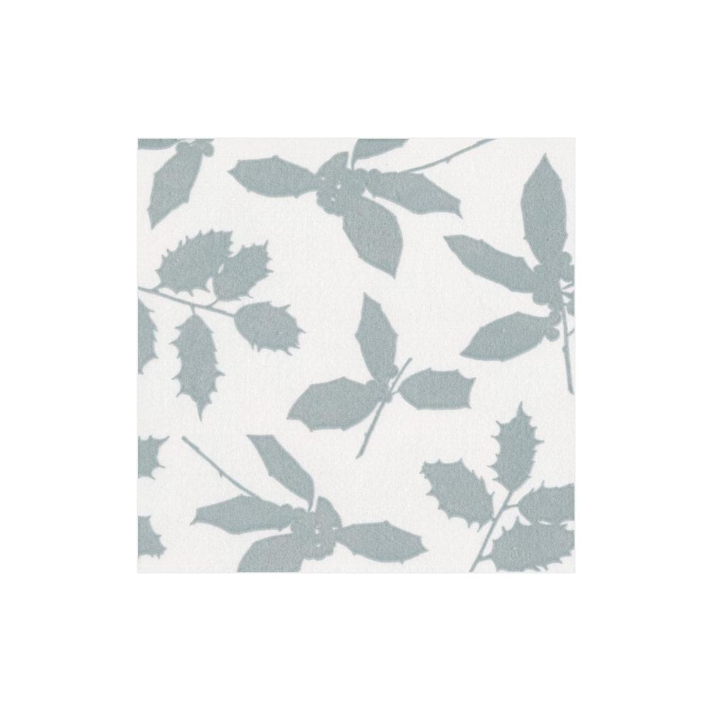 Caspari Holly Silhouettes Paper Cocktail Napkins in Ivory & Silver - 20 Per Package 14812C