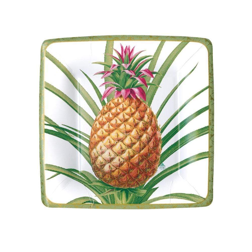 Caspari Tropical Fruit Paper Salad & Dessert Plates in White - 8 Per Package