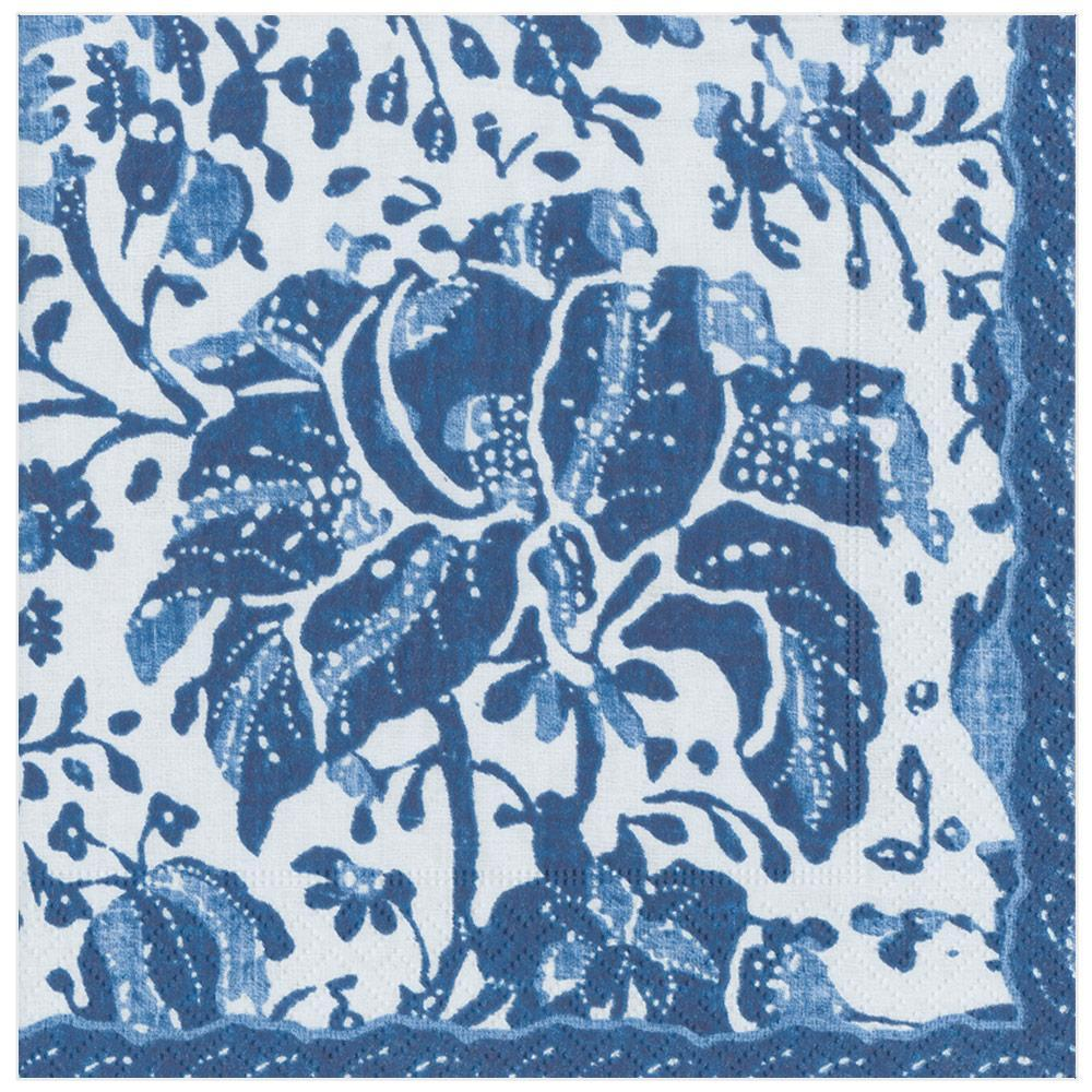 Caspari Plantation Print Paper Dinner Napkins in Indigo - 20 Per Package