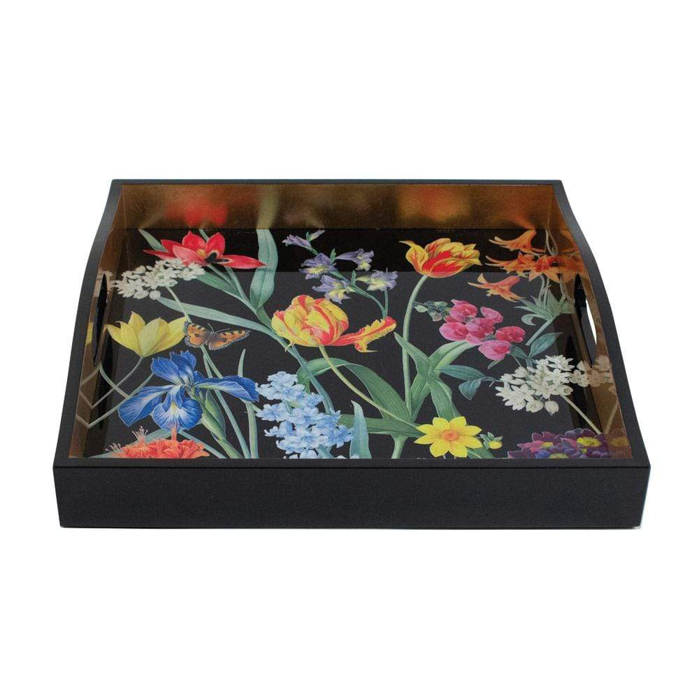 Caspari Redoute Floral Lacquer Square Tray in Black - 1 Each