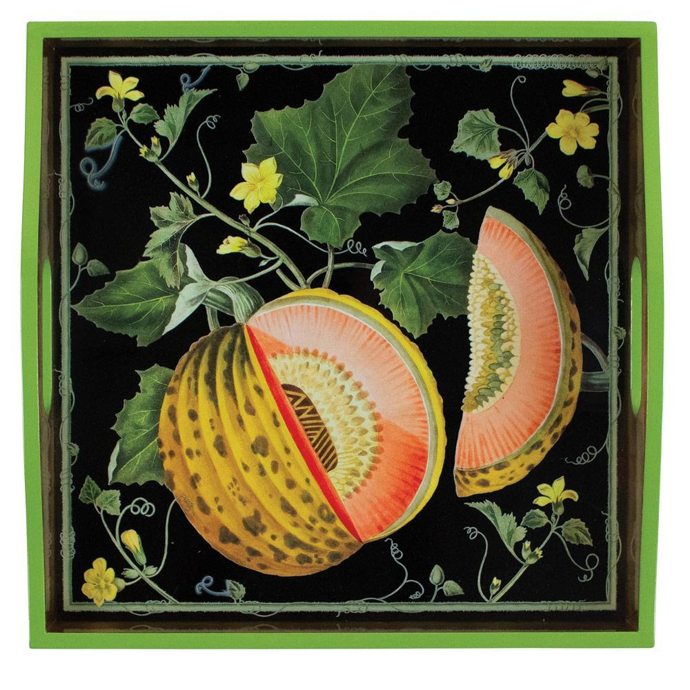 Caspari Brookshaw Melons Lacquer Square Tray in Black - 1 Each