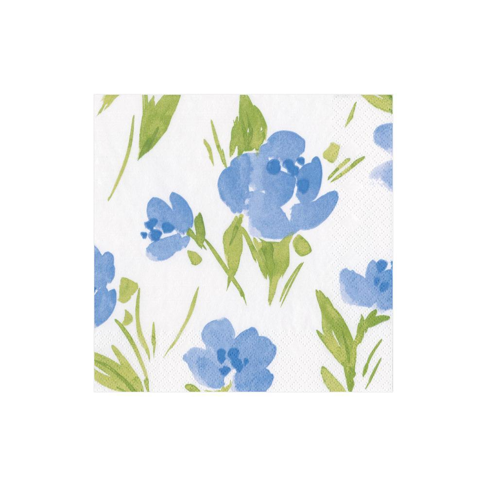 Caspari Garden Party Paper Cocktail Napkins in Blue - 20 Per Package