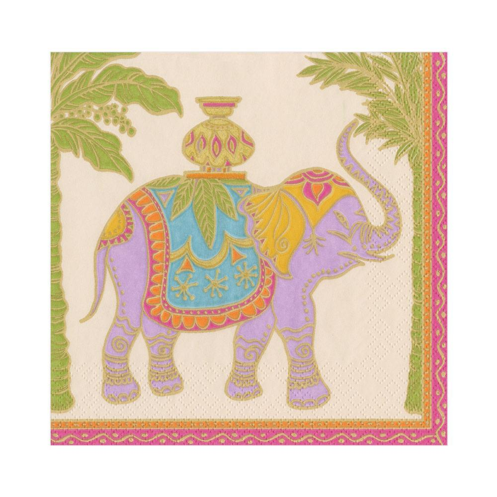 Caspari Royal Elephant Paper Luncheon Napkins in Parchment - 20 Per Package