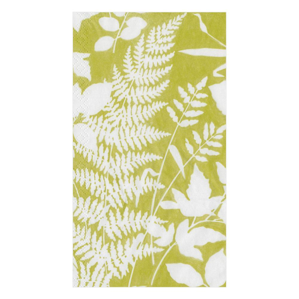 Caspari Modern Fern Paper Guest Towel Napkins in Lime - 15 Per Package