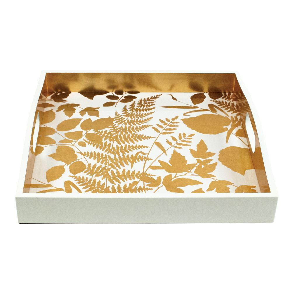 Caspari Modern Fern Lacquer Square Tray in White & Gold - 1 Each