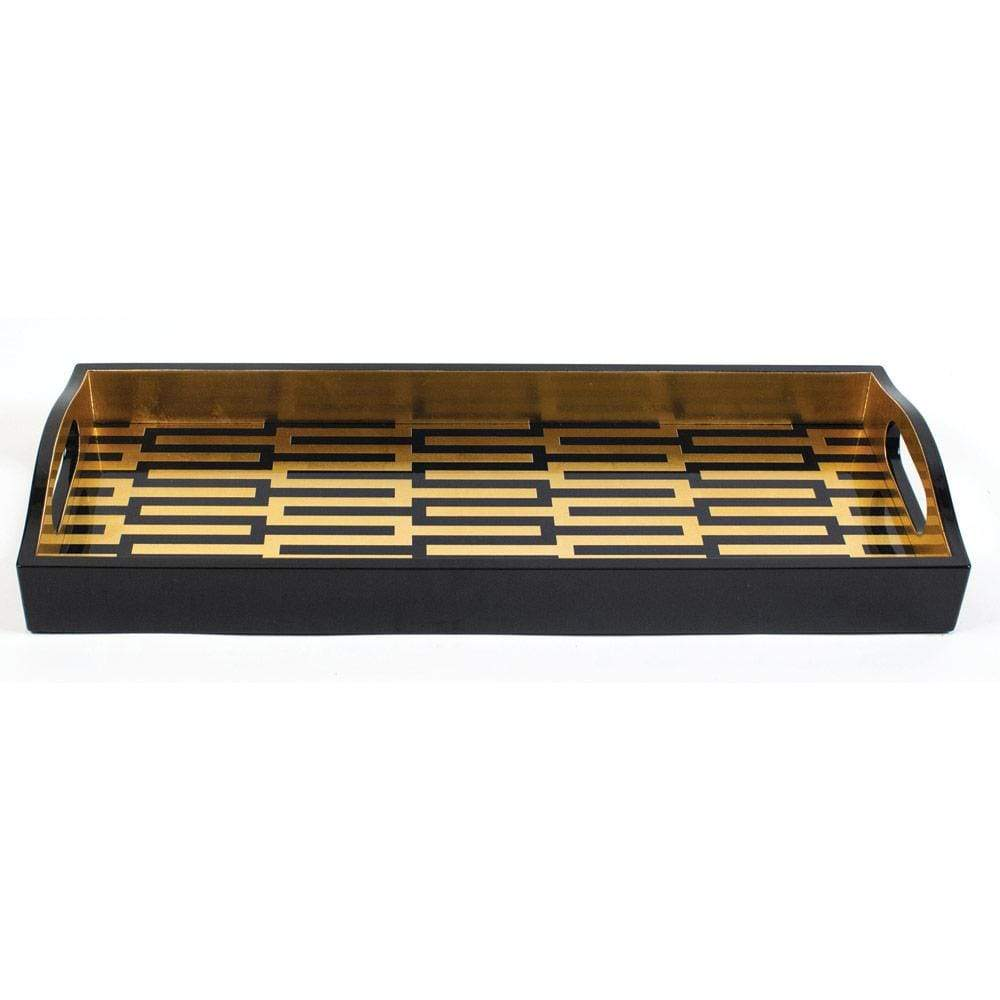 Caspari Zipper Lacquer Bar Tray in Black & Gold - 1 Each