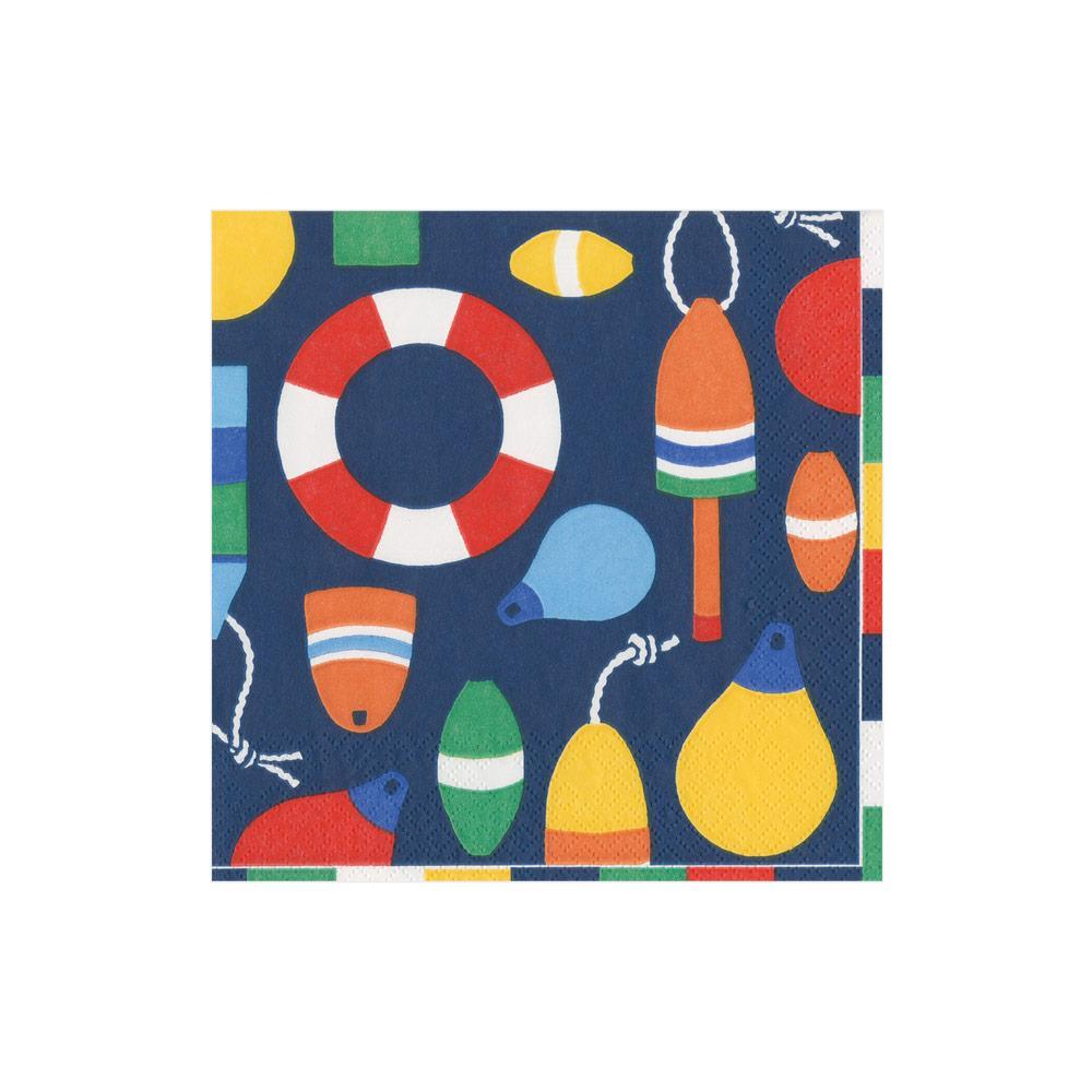 Caspari Harbor Paper Cocktail Napkins in Navy - 20 Per Package