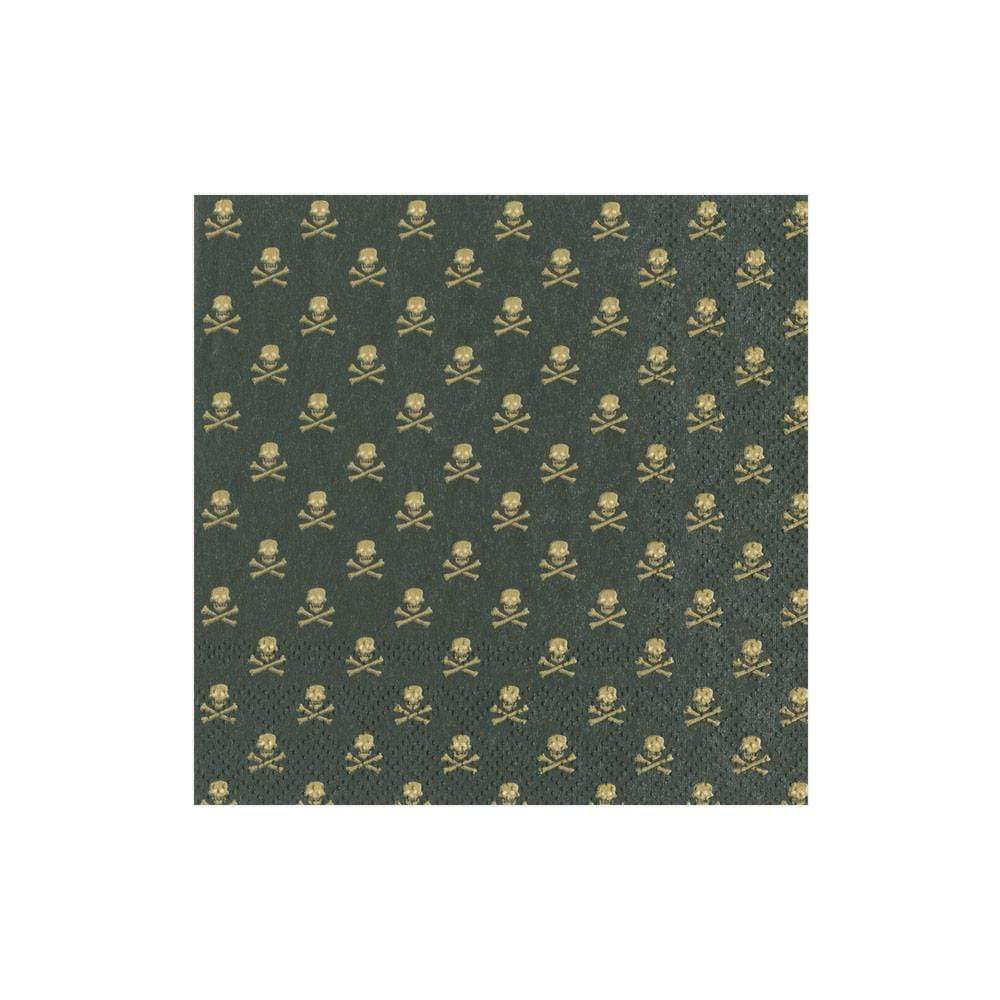 Caspari Skull and Crossbones Paper Cocktail Napkins in Black - 20 Per Package
