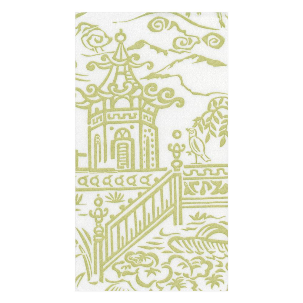 Caspari Pagoda Toile Paper Linen Guest Towel Napkins in Green - 12 Per Package