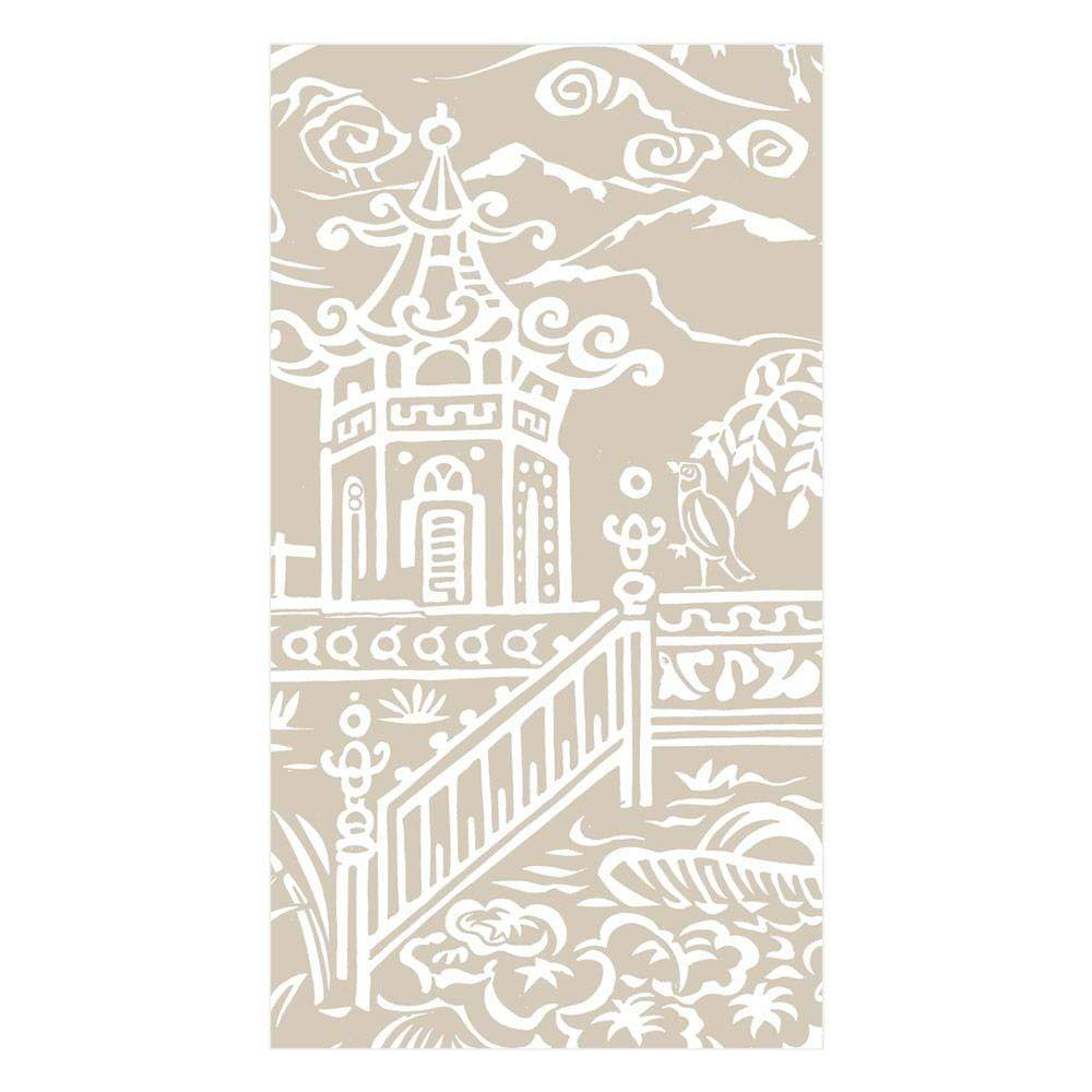 Caspari Pagoda Toile Paper Linen Guest Towel Napkins in Natural - 12 Per Package