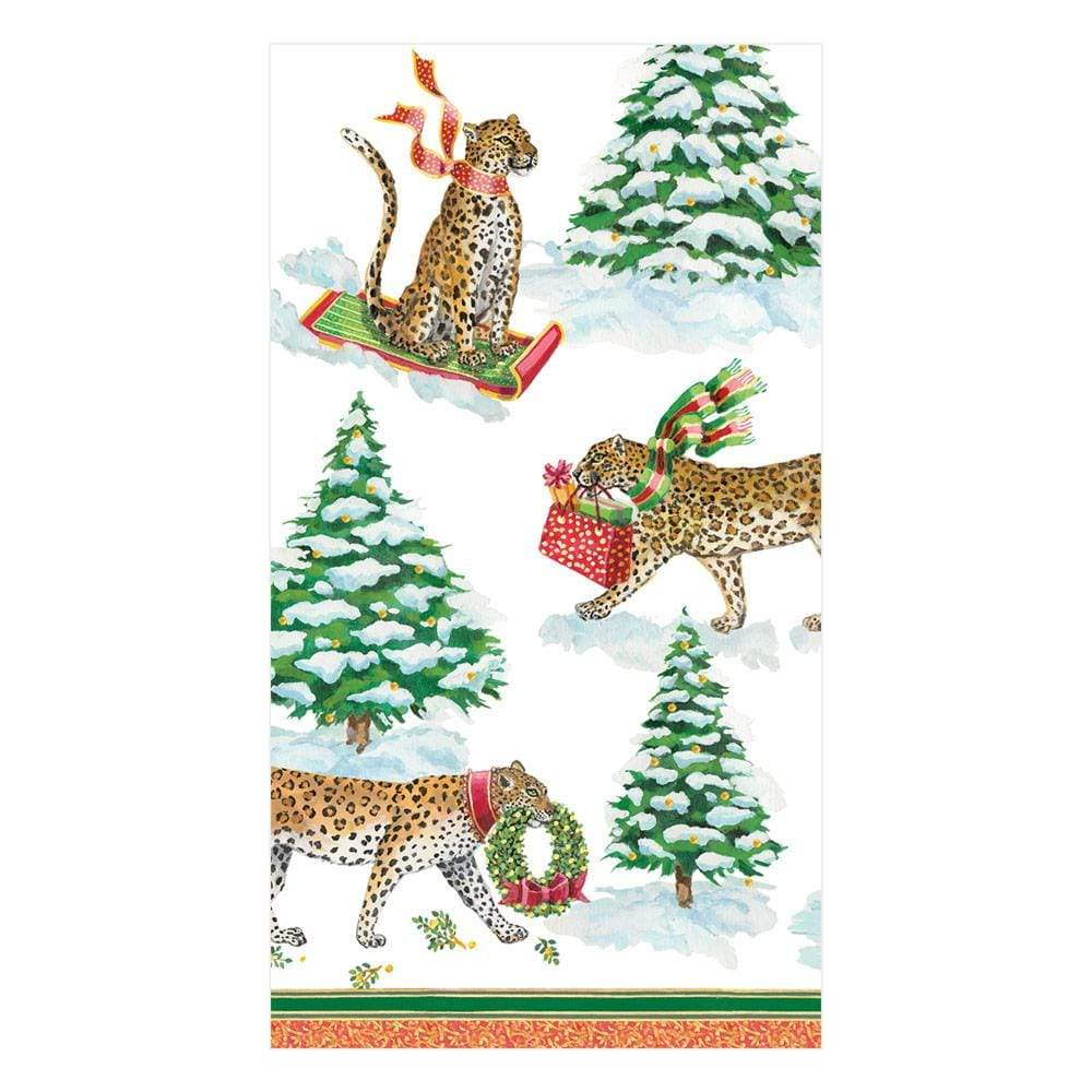 Caspari Leopards in Snow Paper Guest Towel Napkins - 15 Per Package