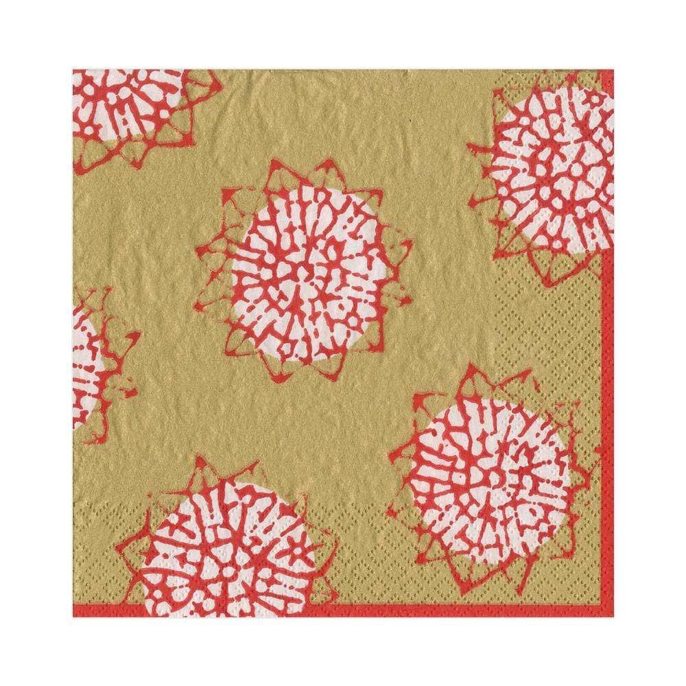 Caspari Block Print Stars Paper Luncheon Napkins in Red & Gold - 20 Per Package