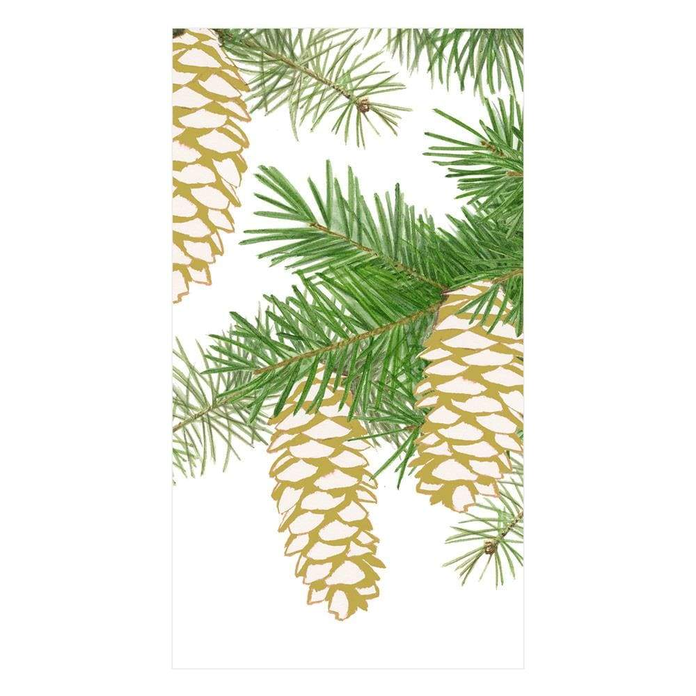 Caspari Pinecones Paper Guest Towel Napkins in Ivory - 15 Per Package