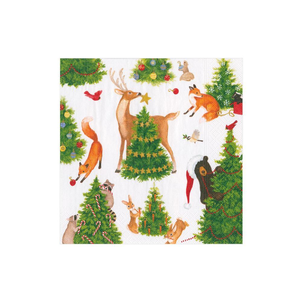 Caspari Forest Christmas Paper Cocktail Napkins - 20 Per Package