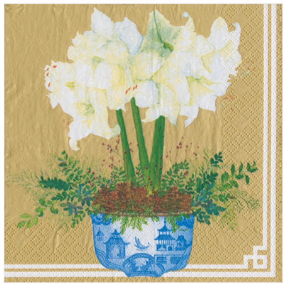 Caspari Potted Amaryllis Paper Dinner Napkins in Gold - 20 Per Package