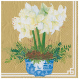 Potted Amaryllis Paper Dinner Napkins in Gold - 20 Per Package
