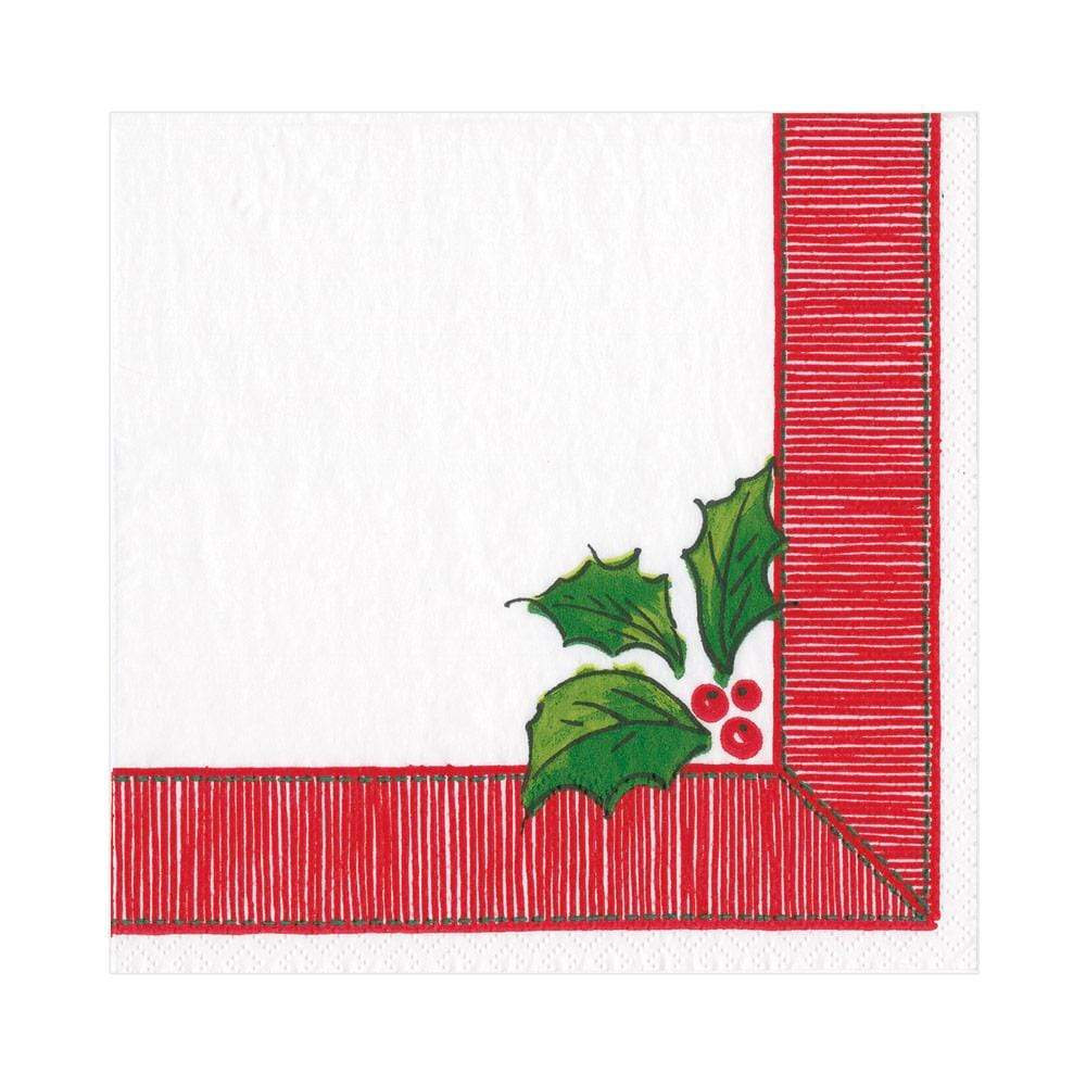 Caspari Ribbon Border Holly Paper Luncheon Napkins - 20 Per Package