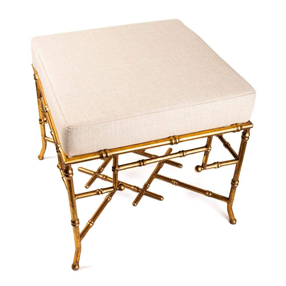 Santano Bamboo Detail Stool in Gold - 1 Each