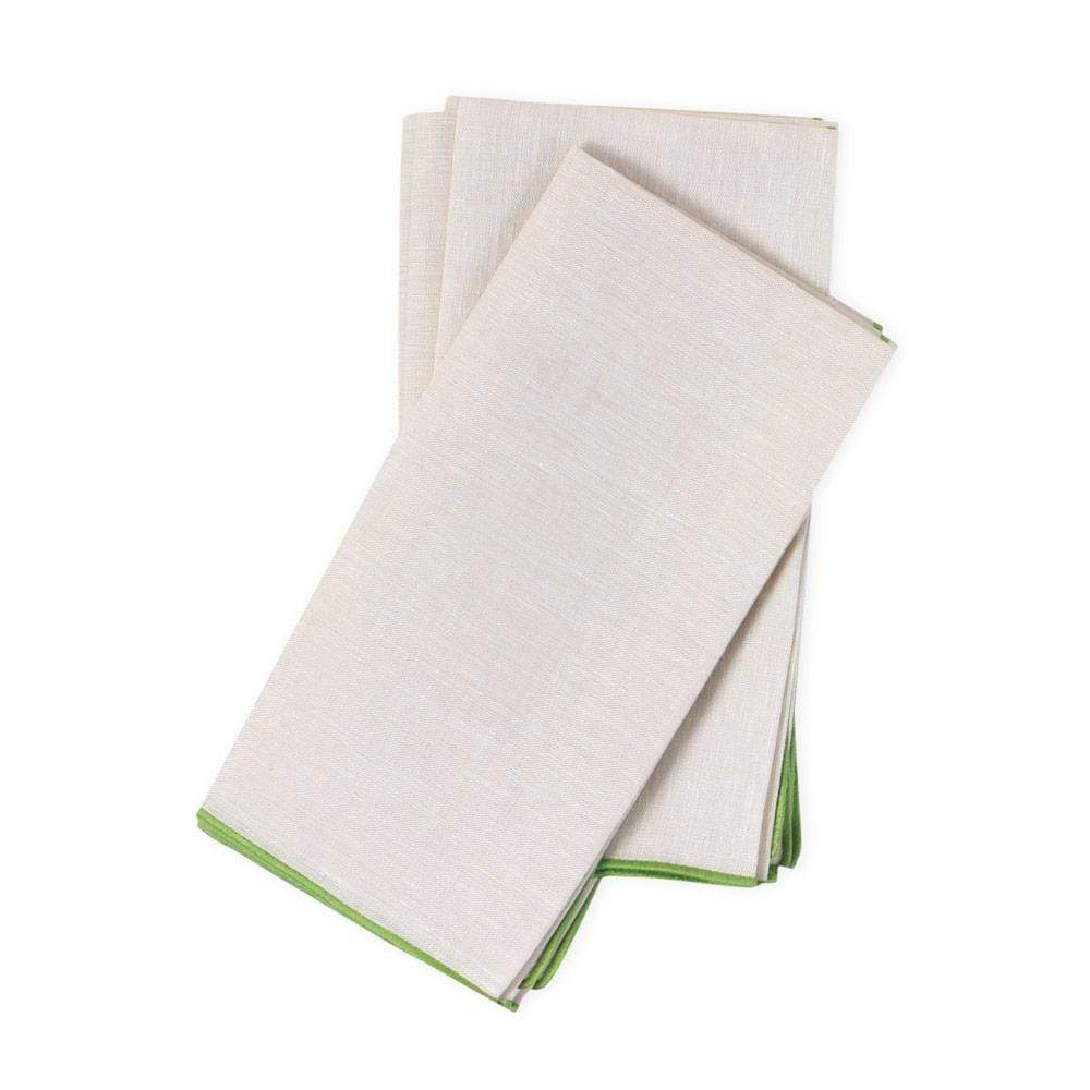 Deborah Rhodes Contrast Edge Linen Dinner Napkin in Natural - 1 Each