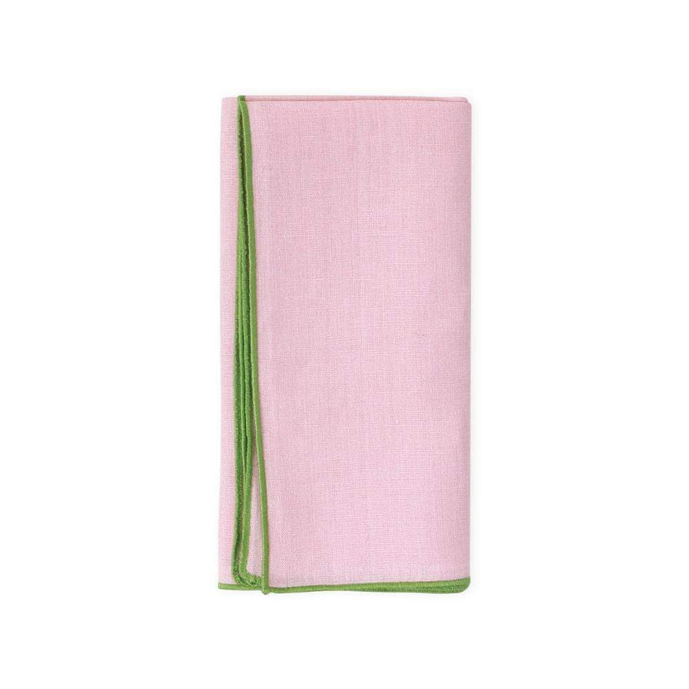 Deborah Rhodes Contrast Edge Linen Dinner Napkin in Blush - 1 Each
