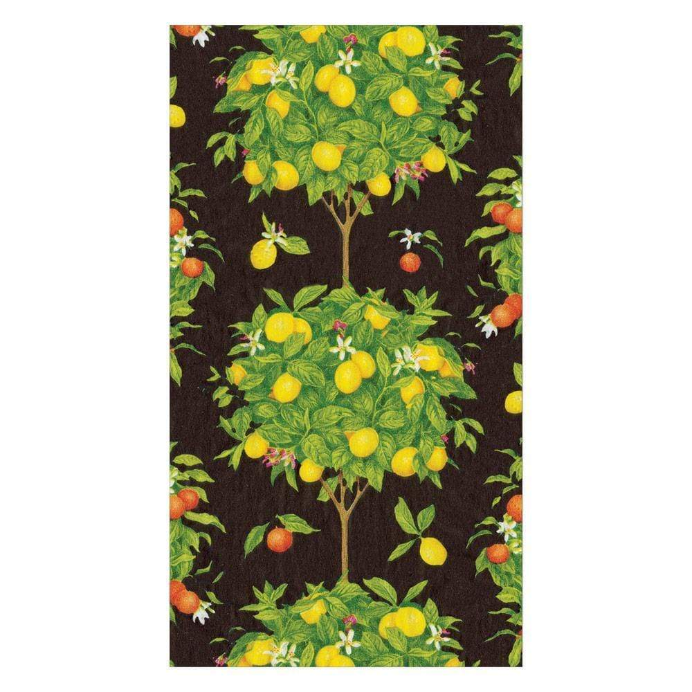 Caspari Citrus Topiaries Paper Guest Towel Napkins in Black - 15 Per Package 16381G
