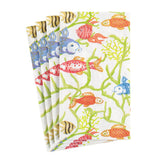 Caspari Tropical Reef Paper Guest Towel Napkins in White - 15 Per Package 16440G