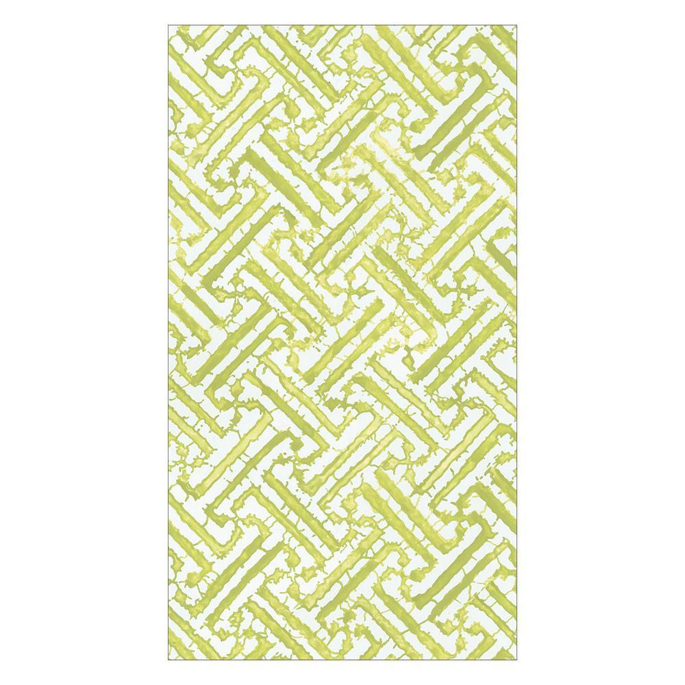 Caspari Fretwork Paper Guest Towel Napkins in Moss Green - 15 Per Package 16451G